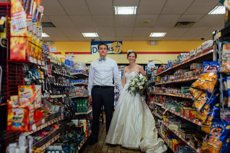 bride and groom in gas station