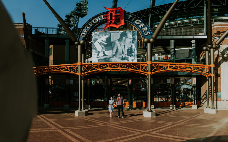 detroit baseball engagement