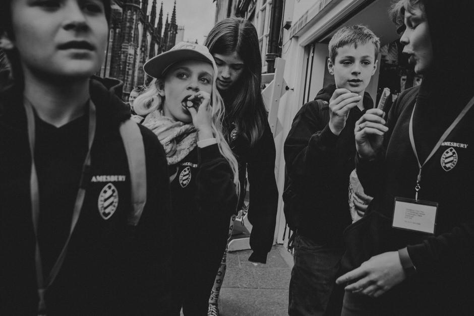 school kids on streets