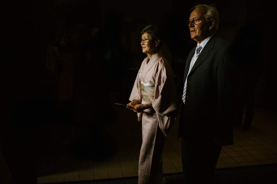 couple walking out of catholic church in spring lake michigan