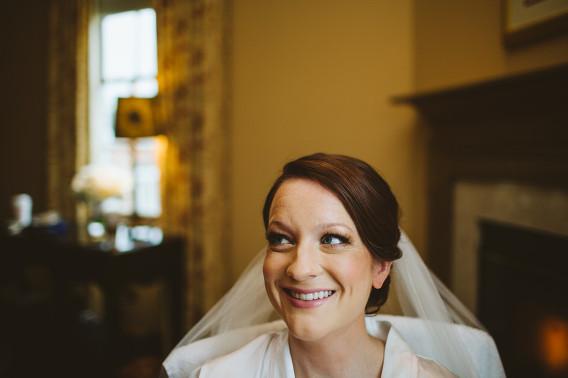 bride smiling in hotel