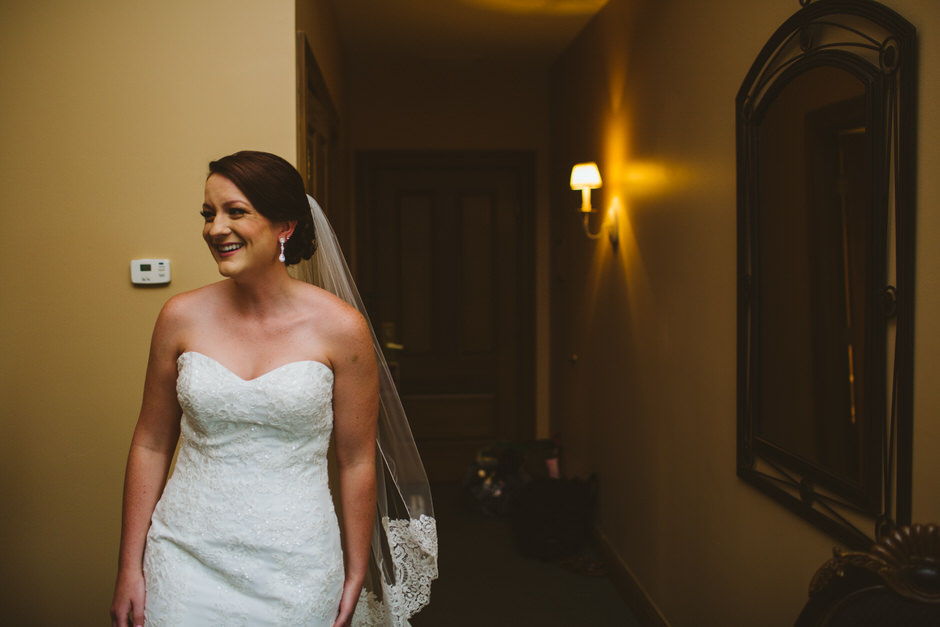 happy bride about to see her dad