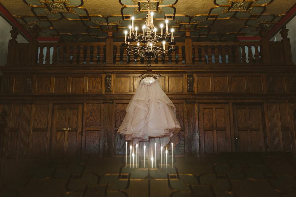 bridal skirt hanging at detroit masonic temple wedding